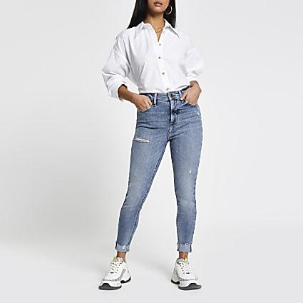 Petite Blue high waisted skinny jeans