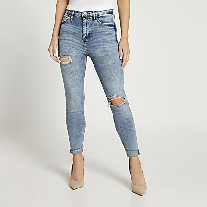Petite blue high waisted skinny sculpt jeans