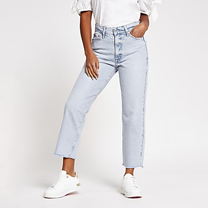 Petite Blue High Waisted Straight Jean