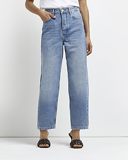 Petite blue high waisted tapered jeans