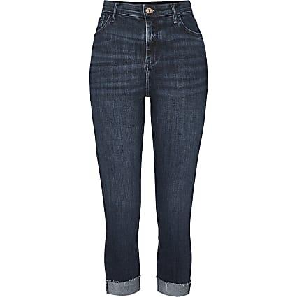 Petite blue high waisted turn up skinny jeans