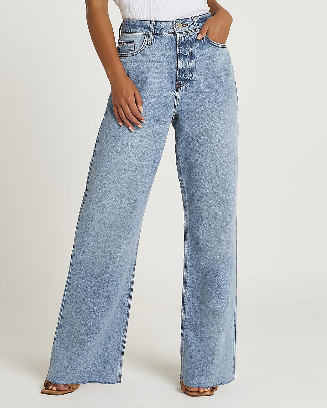 Petite blue high waisted wide leg jeans
