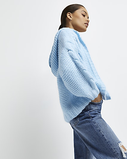 Petite blue hooded cable knit cardigan