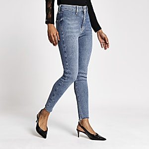 Petite – Kaia – Blaue Disco-Jeans mit hohem Bund