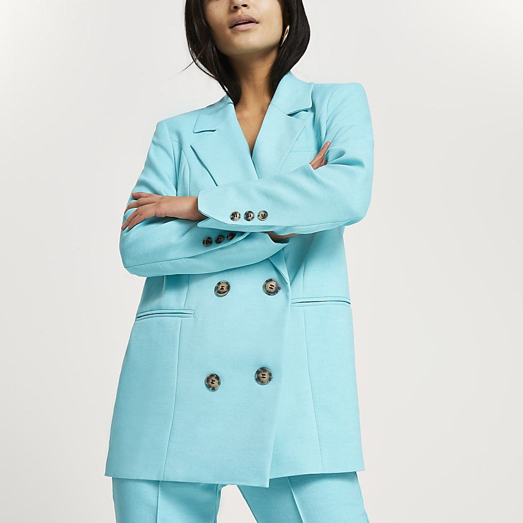 Petite blue long line blazer