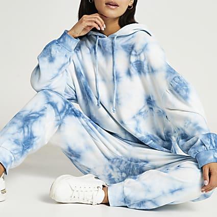 Petite blue long sleeve tie dye hoody