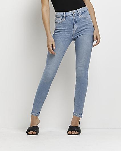 Petite blue mid rise bum sculpt skinny jeans
