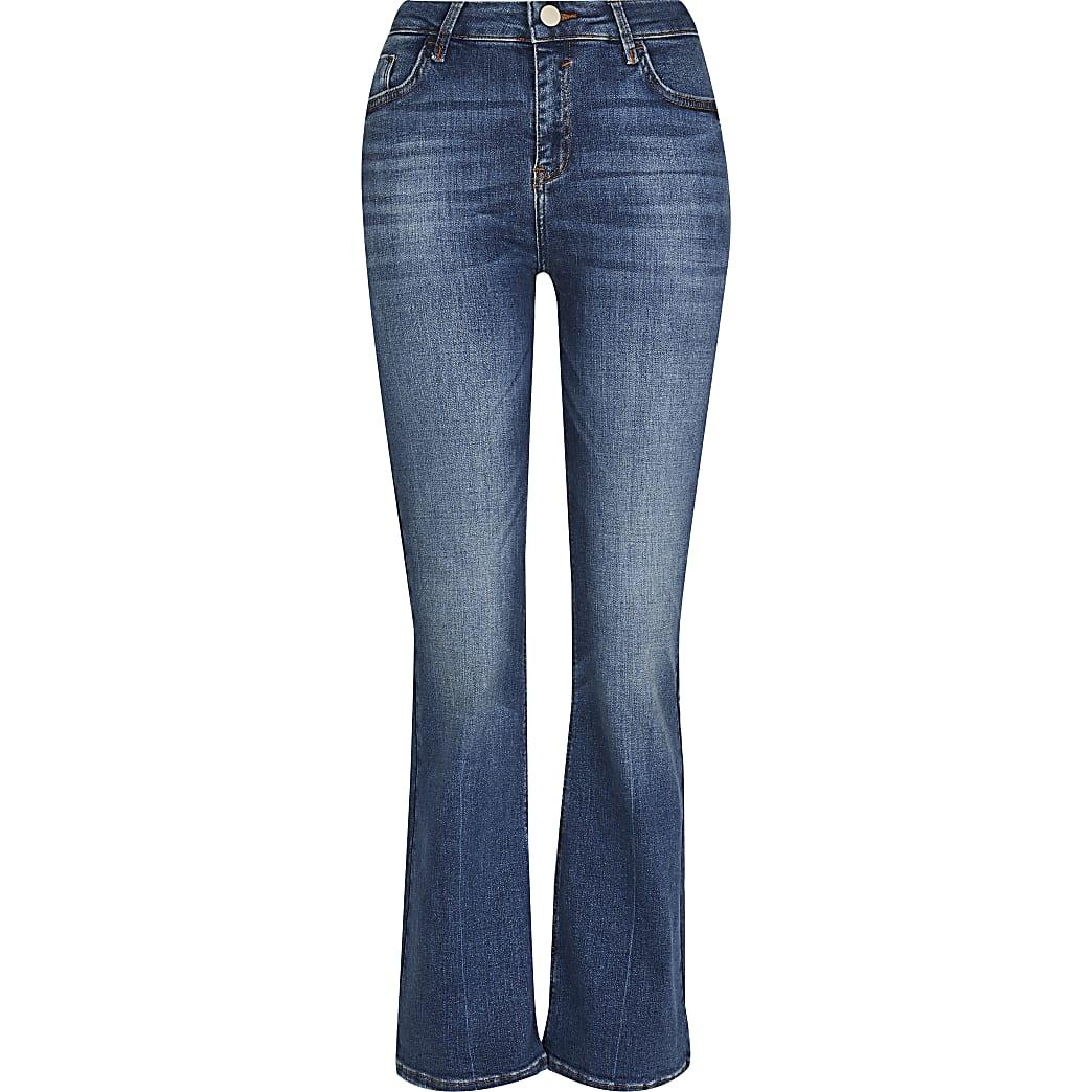 Petite Blue Mid Rise Flare Jean