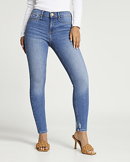 Petite blue Molly bum sculpt skinny jeans