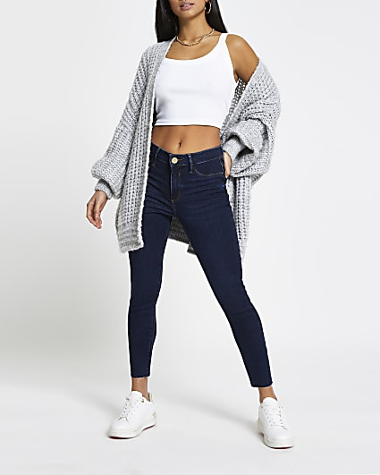 Petite blue Molly mid rise skinny jeans