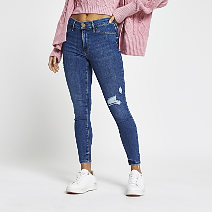 Petite blue Molly rip mid rise jeggings