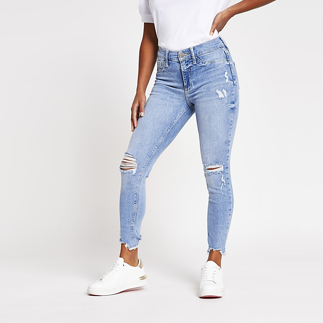 Petite Blue Molly Ripped Mid Rise Skinny Jean