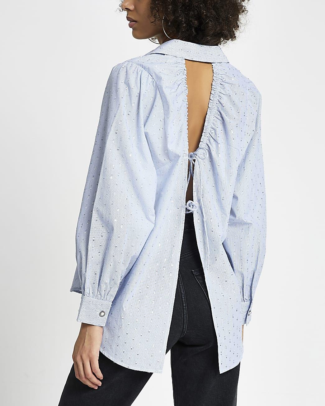 Petite blue open tie back long sleeve shirt