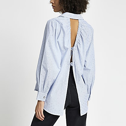 Petite blue open tie back long sleeve shirt