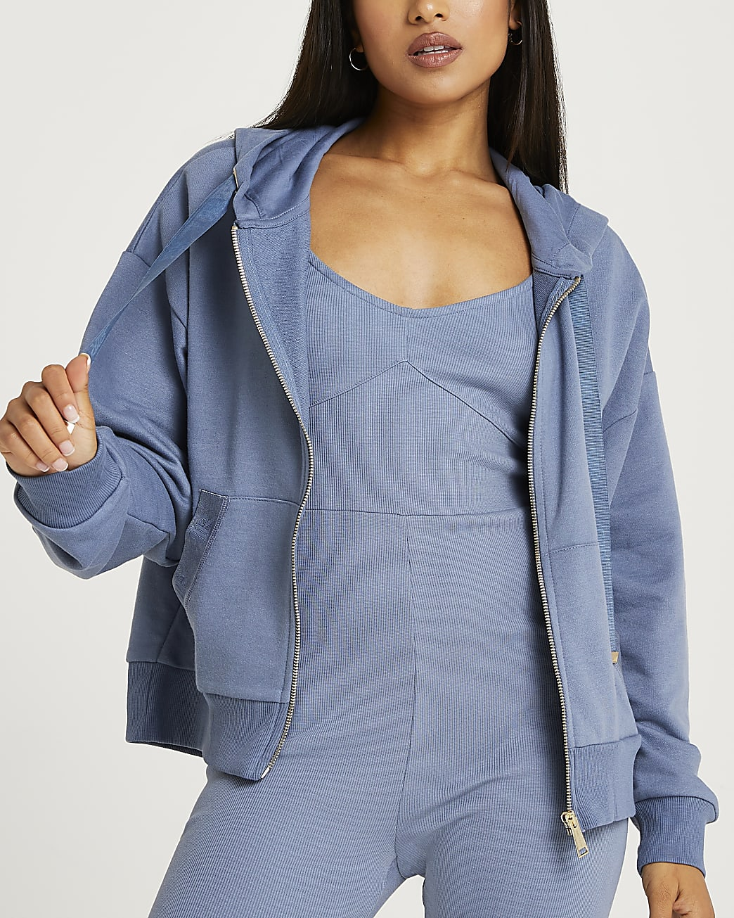 Petite blue oversized hoodie
