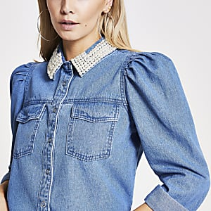 Petite blue pearl collar denim shirt