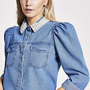 RI Petite - Blauwe denim overhemd met parelkraag