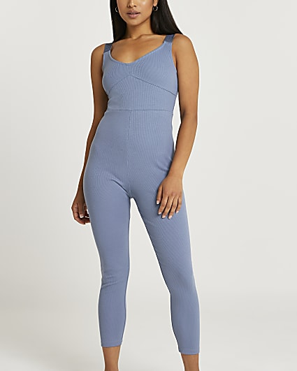 Petite blue ribbed jumpsuit
