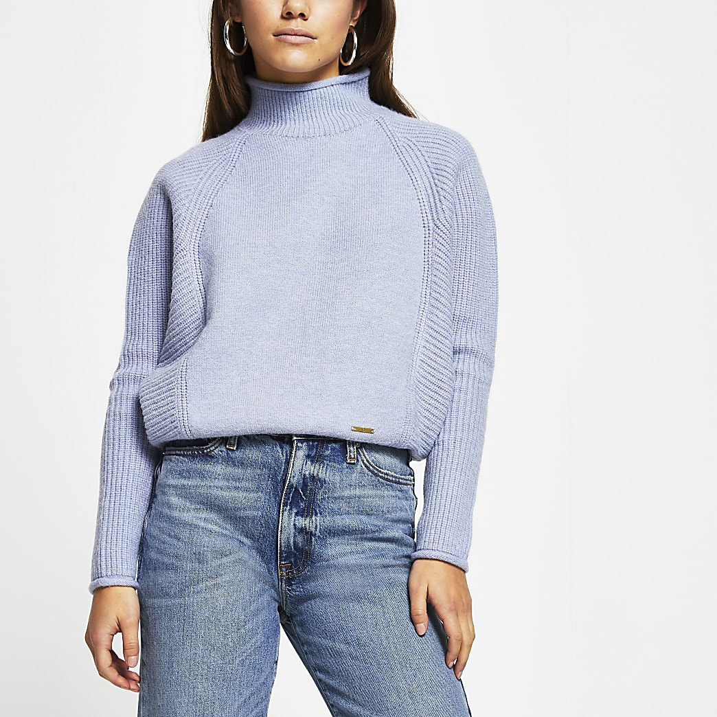 Petite Blue ribbed panel jumper