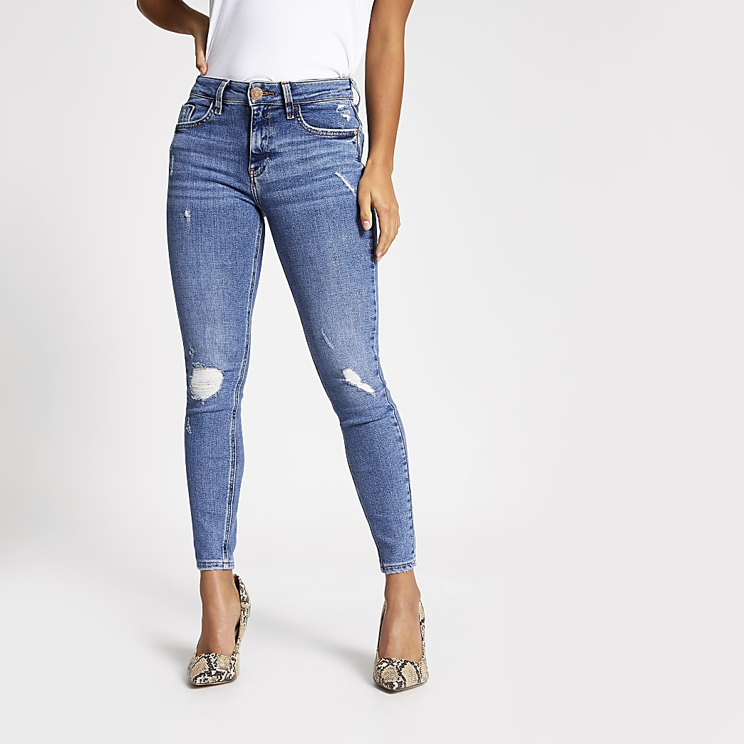 Petite blue ripped Amelie super skinny jeans