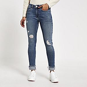 """Petite – Blaue Super Skinny Jeans """"Amelie"""" im Used Look"""
