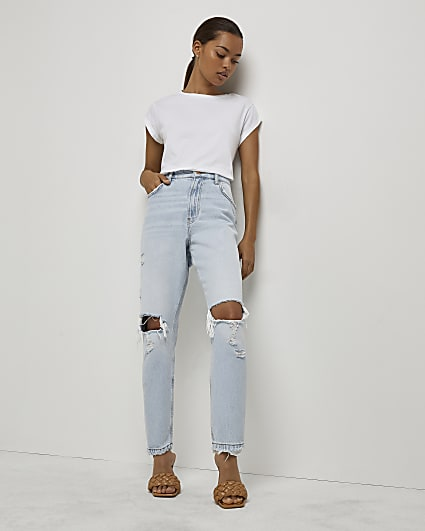 Petite blue ripped high waisted mom jeans