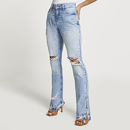 Petite blue ripped high waisted slim fit jean