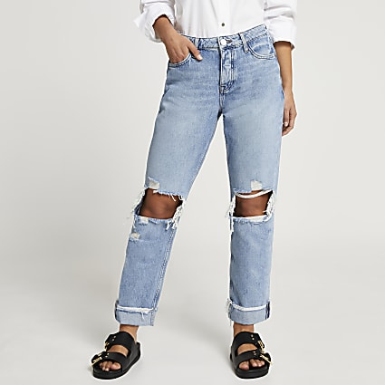 Petite blue ripped mid rise boyfriend jeans