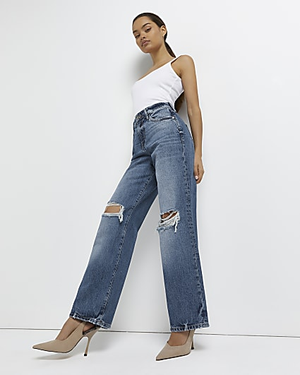 Petite blue ripped mid rise wide leg jeans
