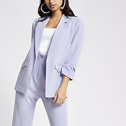 Petite blue ruched sleeve open front blazer
