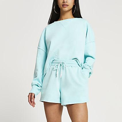 Petite blue runner shorts
