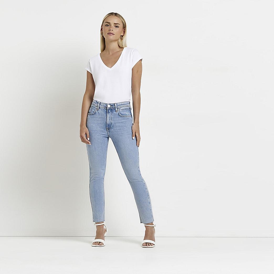 Petite blue slim leg jeans