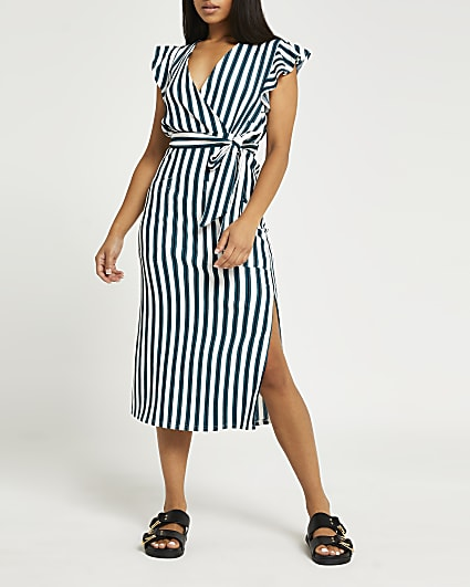 Petite blue stripe tie waist midi dress
