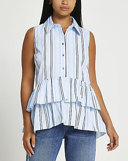 Petite blue striped frill hem shirt