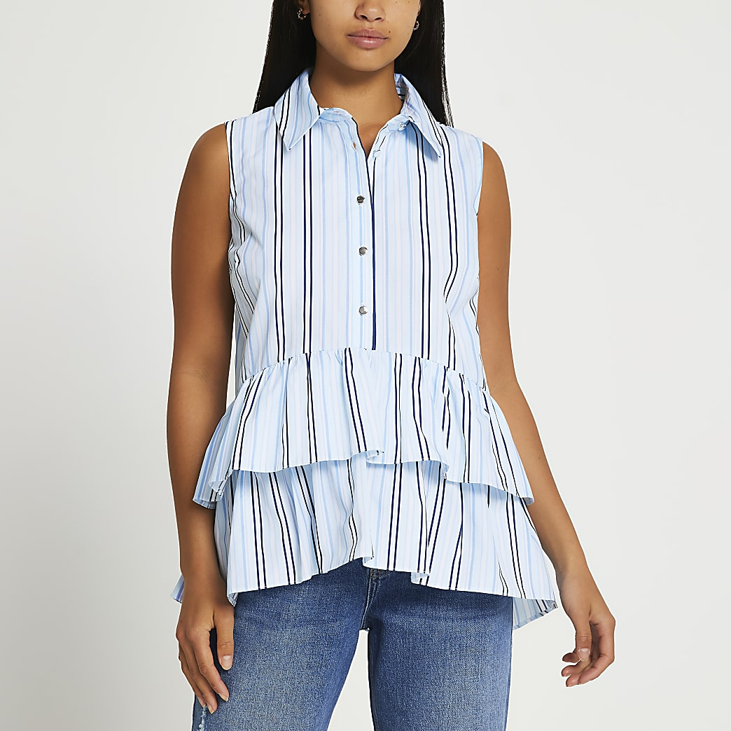 Petite blue striped frill hem shirt