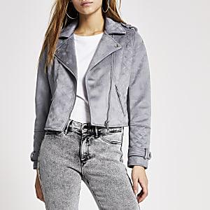 Petite blue suedette quilted biker jacket