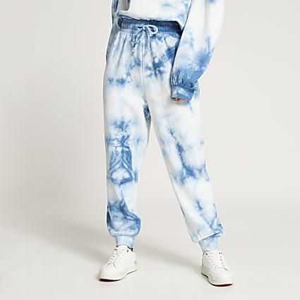 Petite blue tie dye joggers