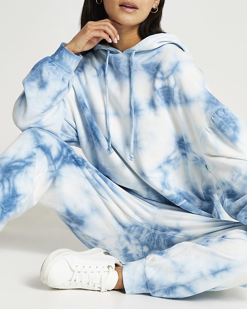 Petite blue tie dye long sleeve hoodie