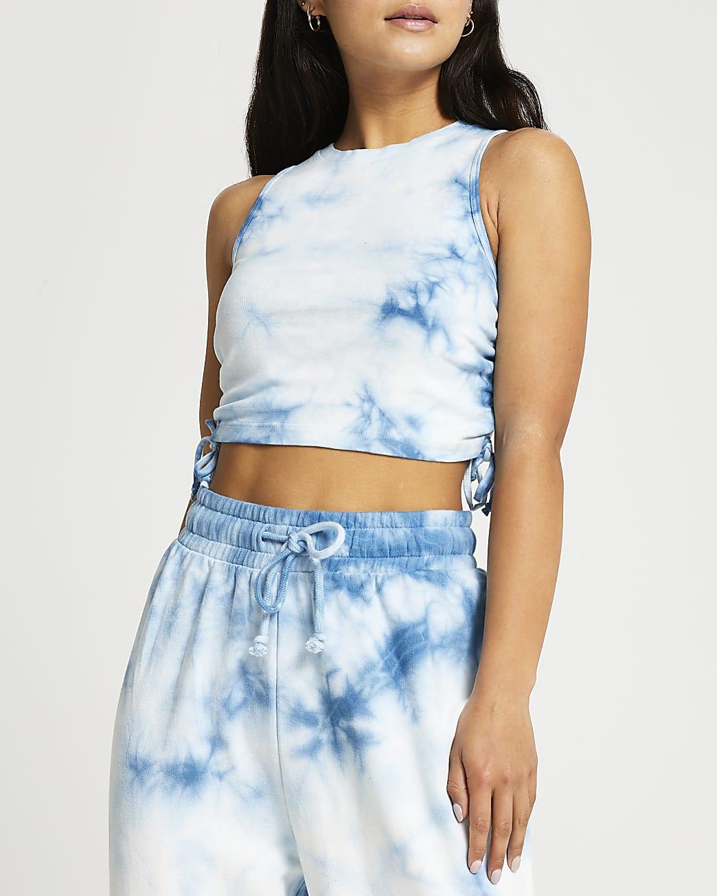 Petite blue tie dye ruched crop top