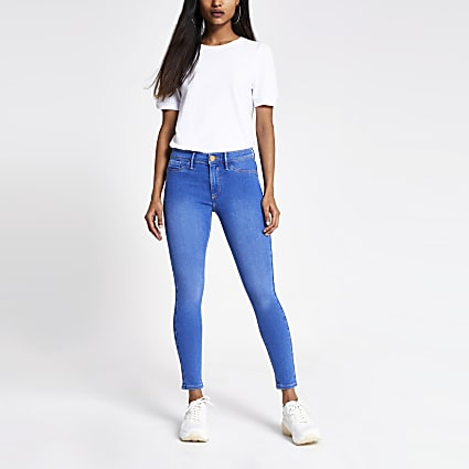 Petite bright blue Molly mid rise jeggings