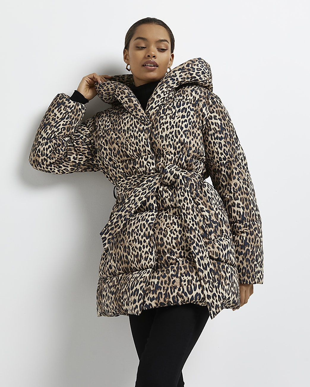 Petite brown animal print belted puffer coat