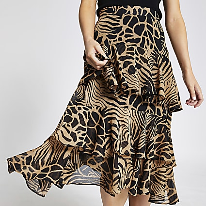Petite brown animal print frill midi skirt