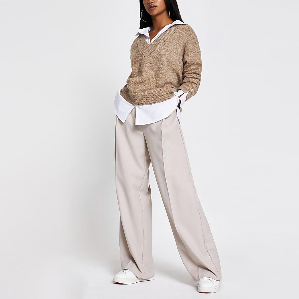 Petite brown boxy shirt jumper