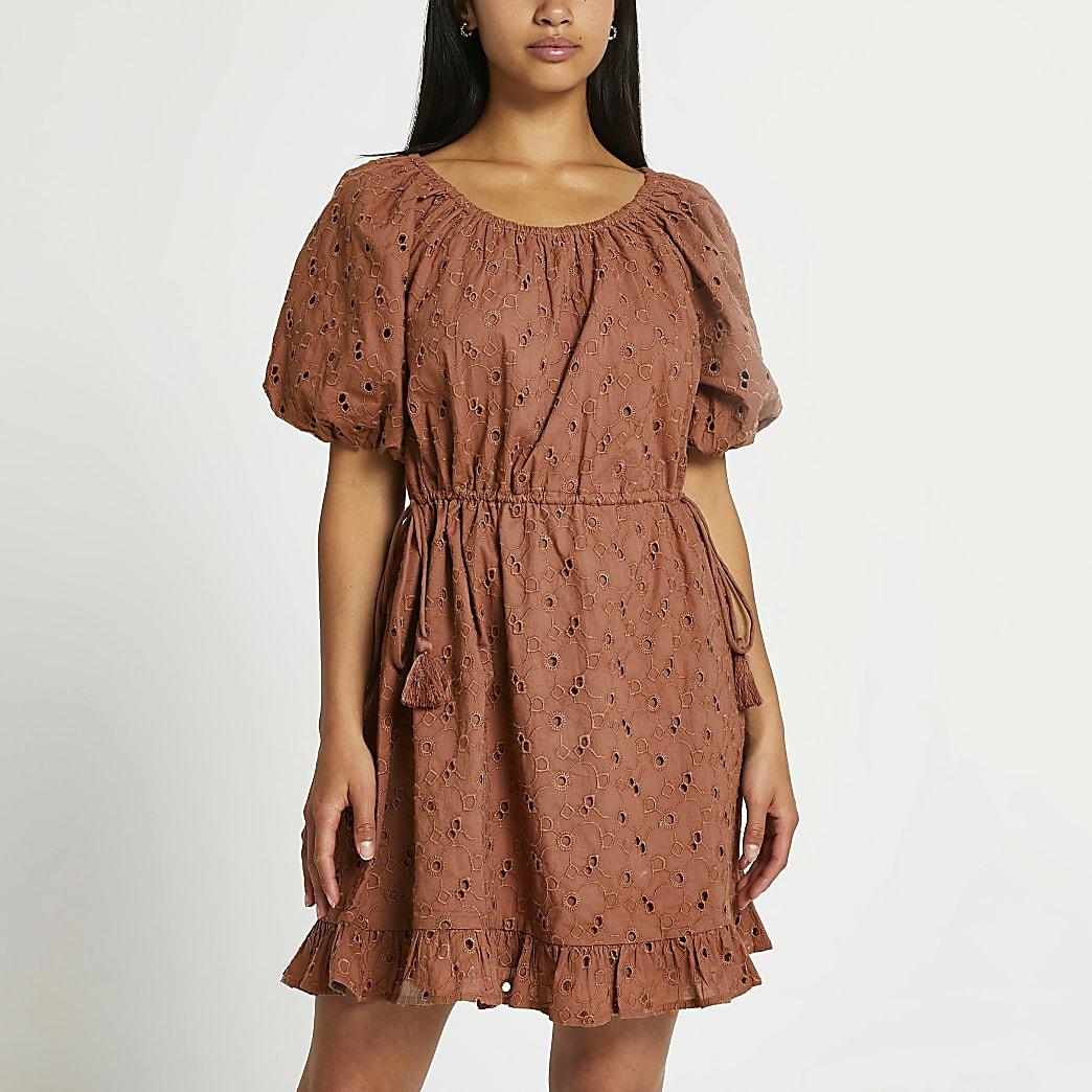 Petite brown broderie puff sleeve mini dress