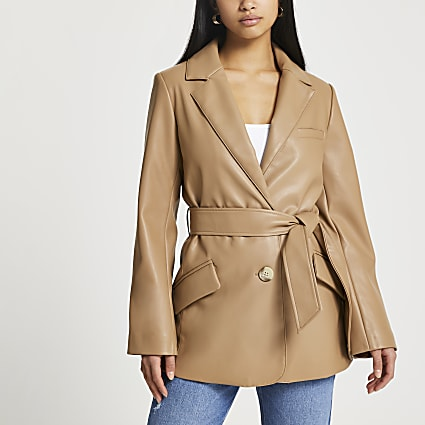 Petite brown faux leather belted blazer