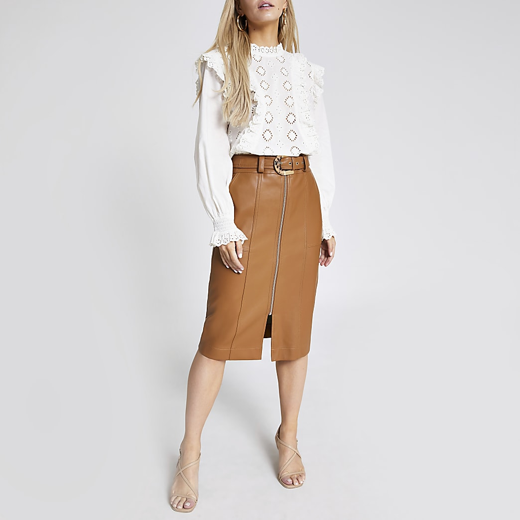 Petite brown faux leather midi pencil skirt