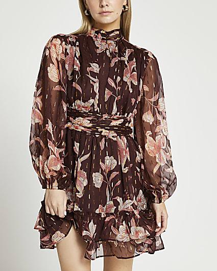 Petite brown floral print ruched mini dress