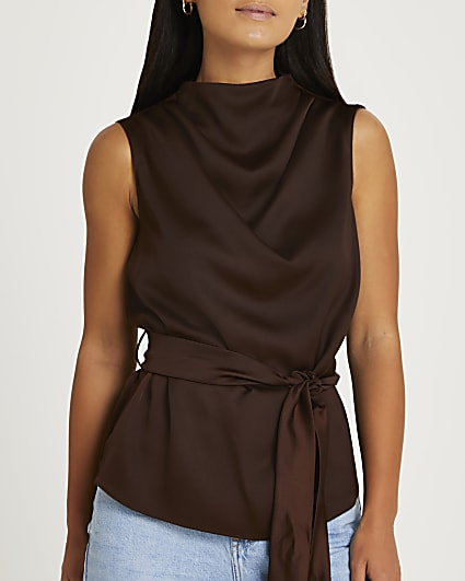 Petite brown high neck tie detail top