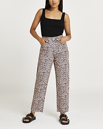 Petite brown high waisted straight jeans