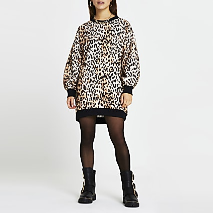 Petite brown leopard print mini sweater dress